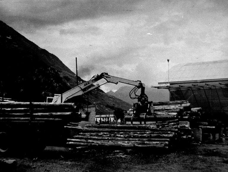 Macchinario in azione per stoccaggio legno