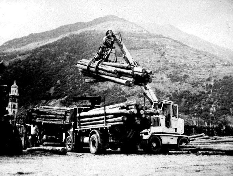 Stoccaggio a Tirano del legno della segheria Ghilotti